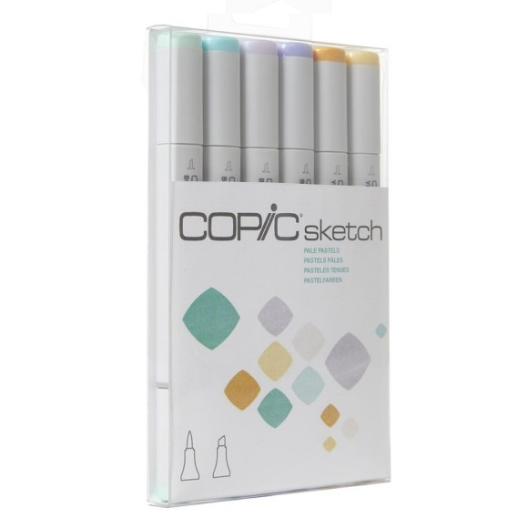 KIT MARCADOR COPIC SKECTH 6 CORES - TONS PASTÉIS - PALE PASTELS