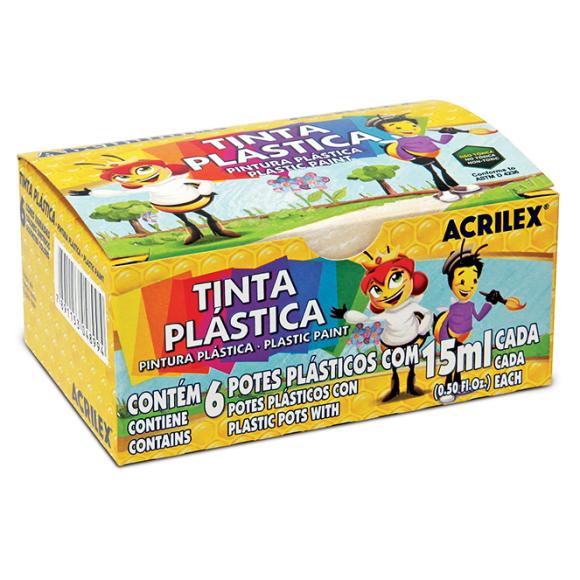 TINTA PLÁSTICA C/6 CORES - ACRILEX