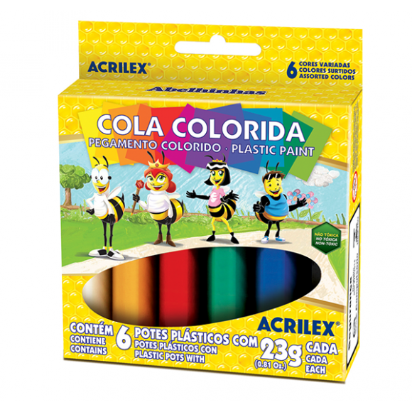 COLA COLORIDA C/6 CORES - ACRILEX
