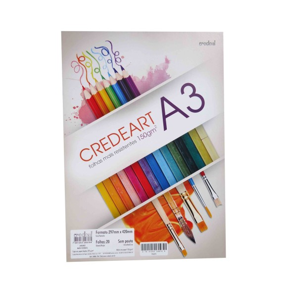 BLOCO PAPEL CREDEART A3 20FLS 150g/m² CREDEAL