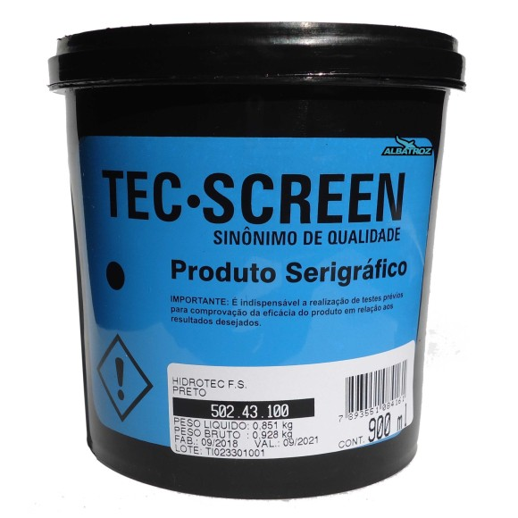 TINTA HIDROTEC F.S. PRETO 900ML TEC-SCREEN