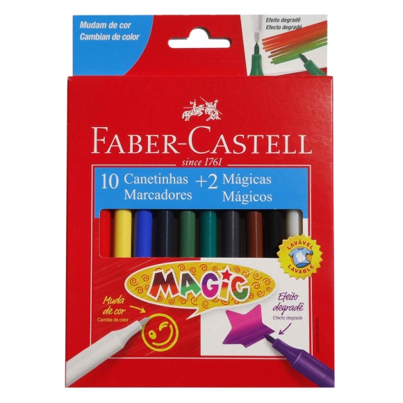 CANETINHA MAGIC 10 CORES + 2 MÁGICAS - FABER-CASTELL