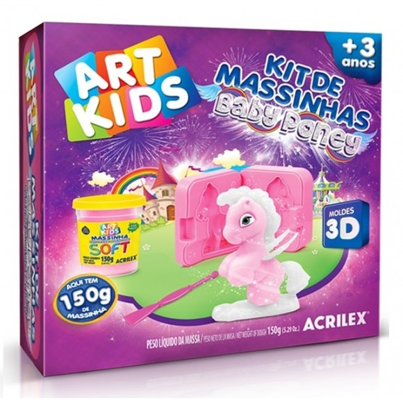KIT DE MASSINHAS BABY PONEY 3D ROSA - ACRILEX