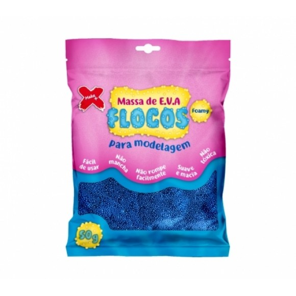 MASSA DE E.V.A FLOCOS METAL AZUL 50G MAKE+