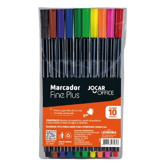 MARCADOR FINE PLUS 0,4MM C/10 CORES - JOCAR OFFICE