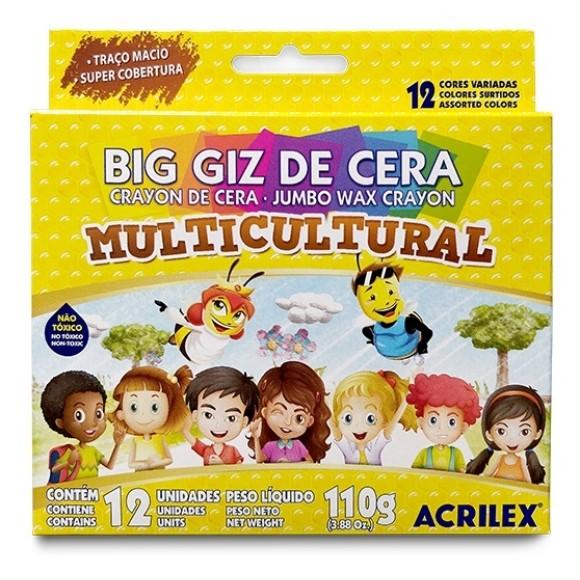 GIZ DE CERA BIG 12 CORES MULTICULTURAL - ACRILEX