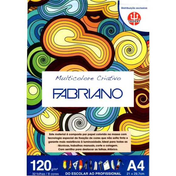 BLOCO PAPEL MULTICOLORIDO CRIATIVO A4 120G/M² 32 FLS - FABRIANO