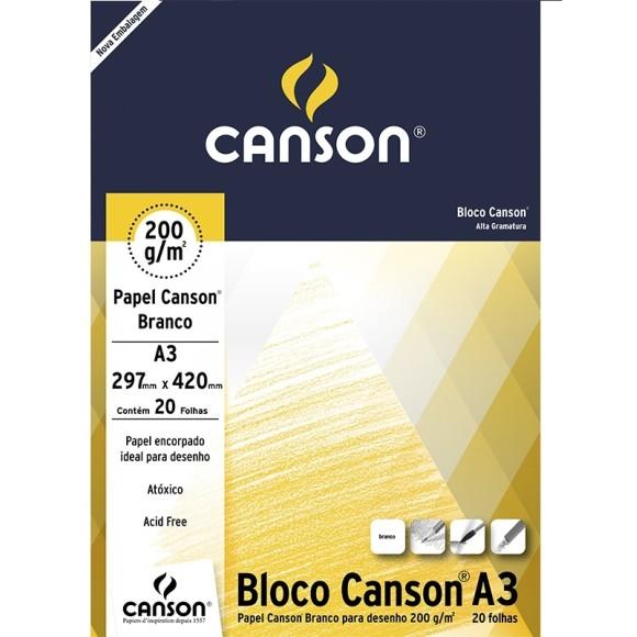 BLOCO DESENHO 200 A3 BRANCO 200g/m² CANSON