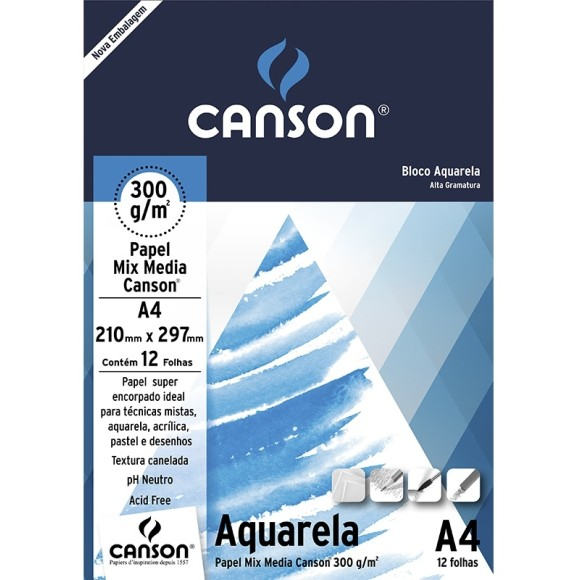 BLOCO AQUARELA A4 300G/M² - CANSON