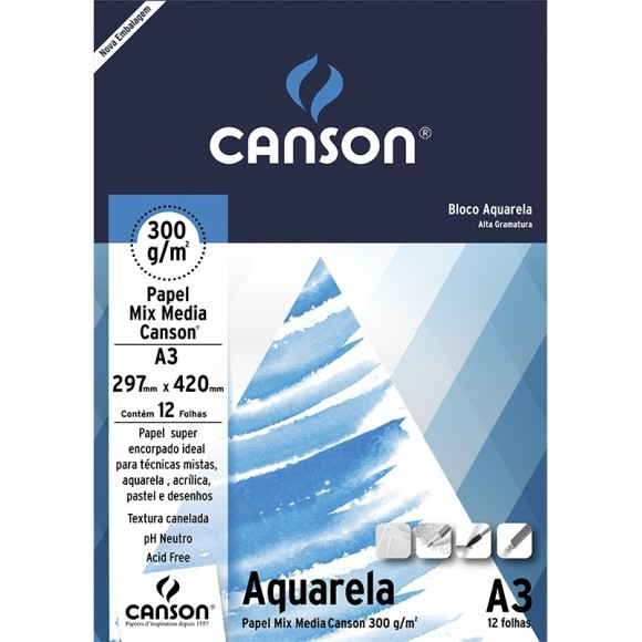 BLOCO AQUARELA A3 300G/M² - CANSON