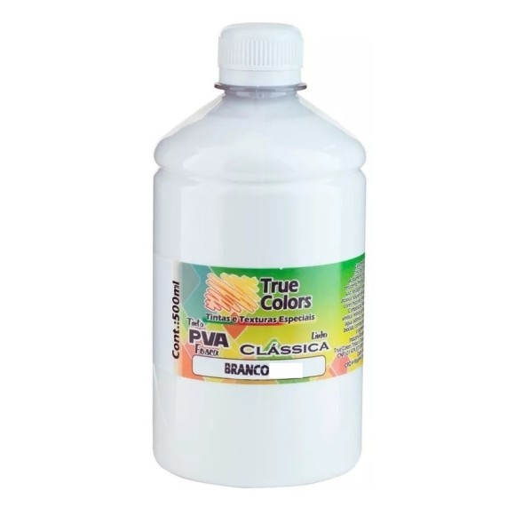 TINTA PVA FOSCA BRANCA 500ML TRUE COLORS