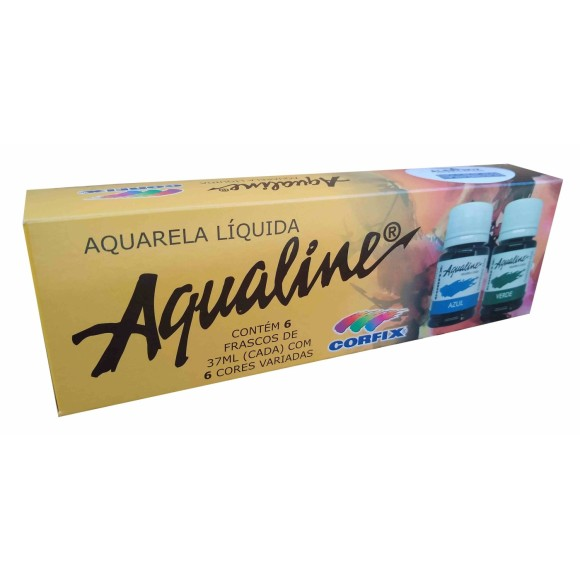 AQUARELA LÍQUIDA AQUALINE KIT 6 CORES - CORFIX