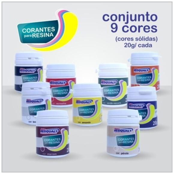 KIT C/ 9 CORANTES 20G CORES SÓLIDAS P/ RESINA