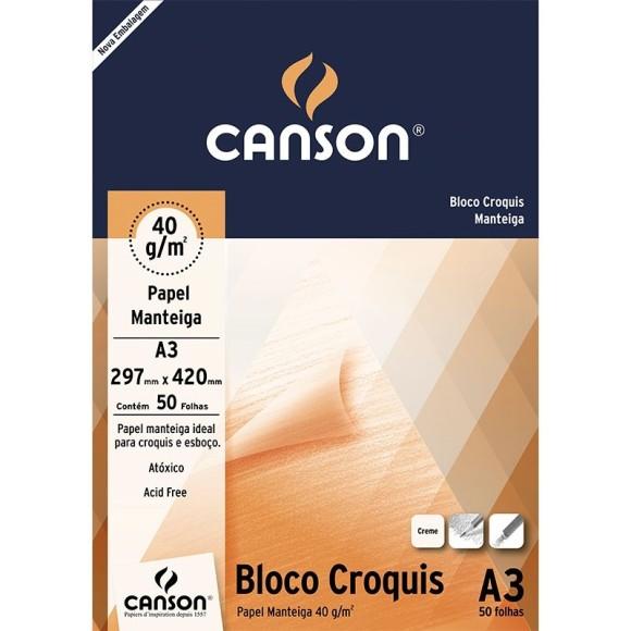 BLOCO CROQUIS (PAPEL MANTEIGA) A3 40G/M² - 50 FLS - CANSON