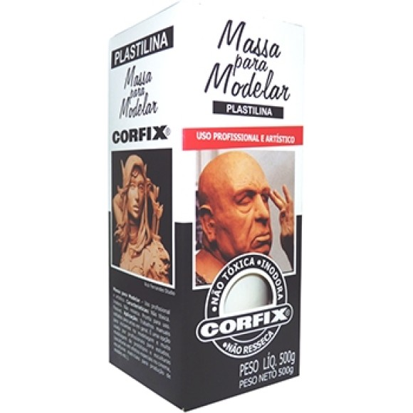 MASSA MODELAR PLASTILINA BRANCA 500G - CORFIX