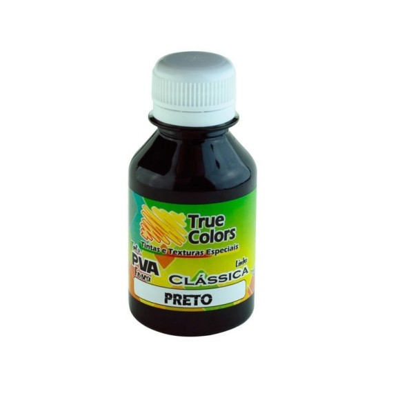 TINTA PVA FOSCA PRETA 100ML TRUE COLORS